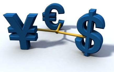 dollar, yen and euro